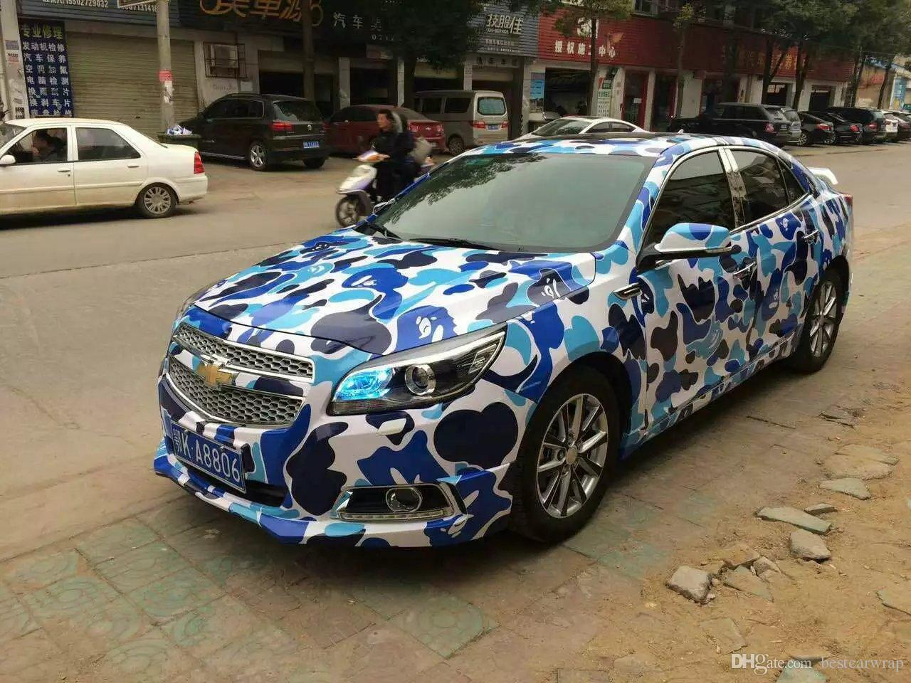 2019 Blue Leopard Camo Vinyl Full Car Wrapping Camouflage