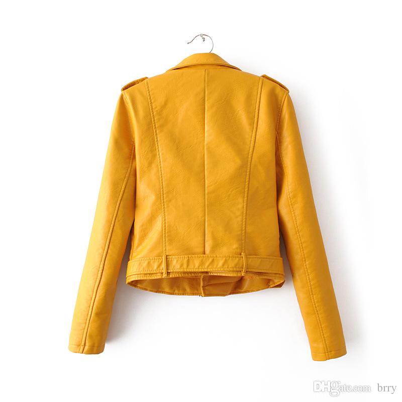 Wholesale-TOB PU leather jacket short for autumn&winter plus size L black&white&sky blueπnk fashion women jacket