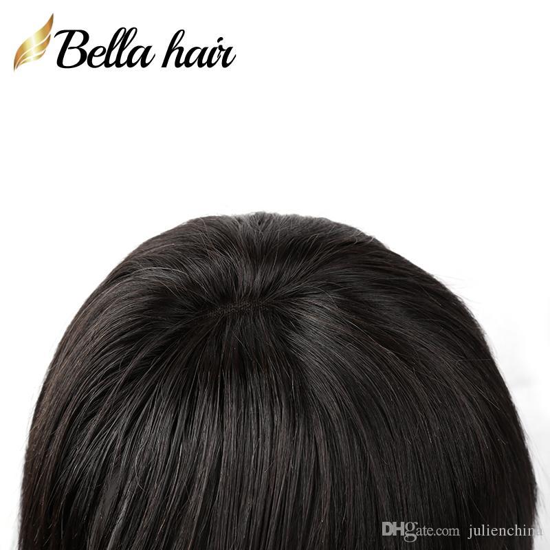 Шелковистые прямые волосы парики 100% индийские Virgin парики человеческих волос с Банг Передние / полные парики шнурка Julienchina Белла волос