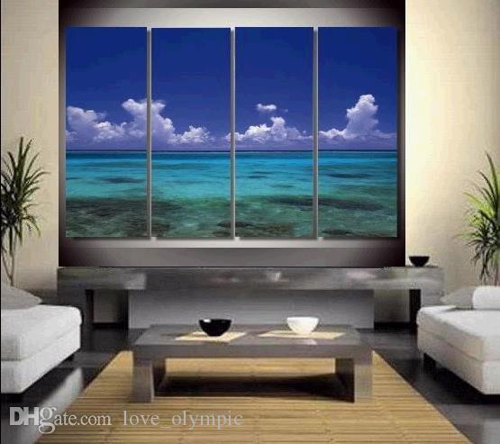 Çerçeveli Ücretsiz Kargo Büyük El-boyalı Deniz Manzarası Yağlıboya Tuval Ev Duvar Dekor Sanat Modern Soyut Resim Sergisi Çok boyutları R519