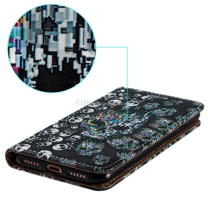 Custodie in pelle telefono cellulare con cerniera magnetica pieghevole a rilievo in rilievo Apple iPhone 7 7 Plus 6 6s Plus 5s BB0278A03