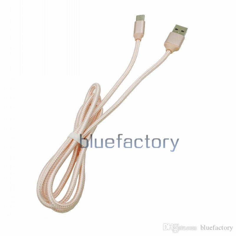 2A Fast Charging Nylon TYPE C Micro USB Data Sync Charging Cable Aluminium Braided Charger Cord 1M 2M 3M Wire For Samsung HTC Smartphone