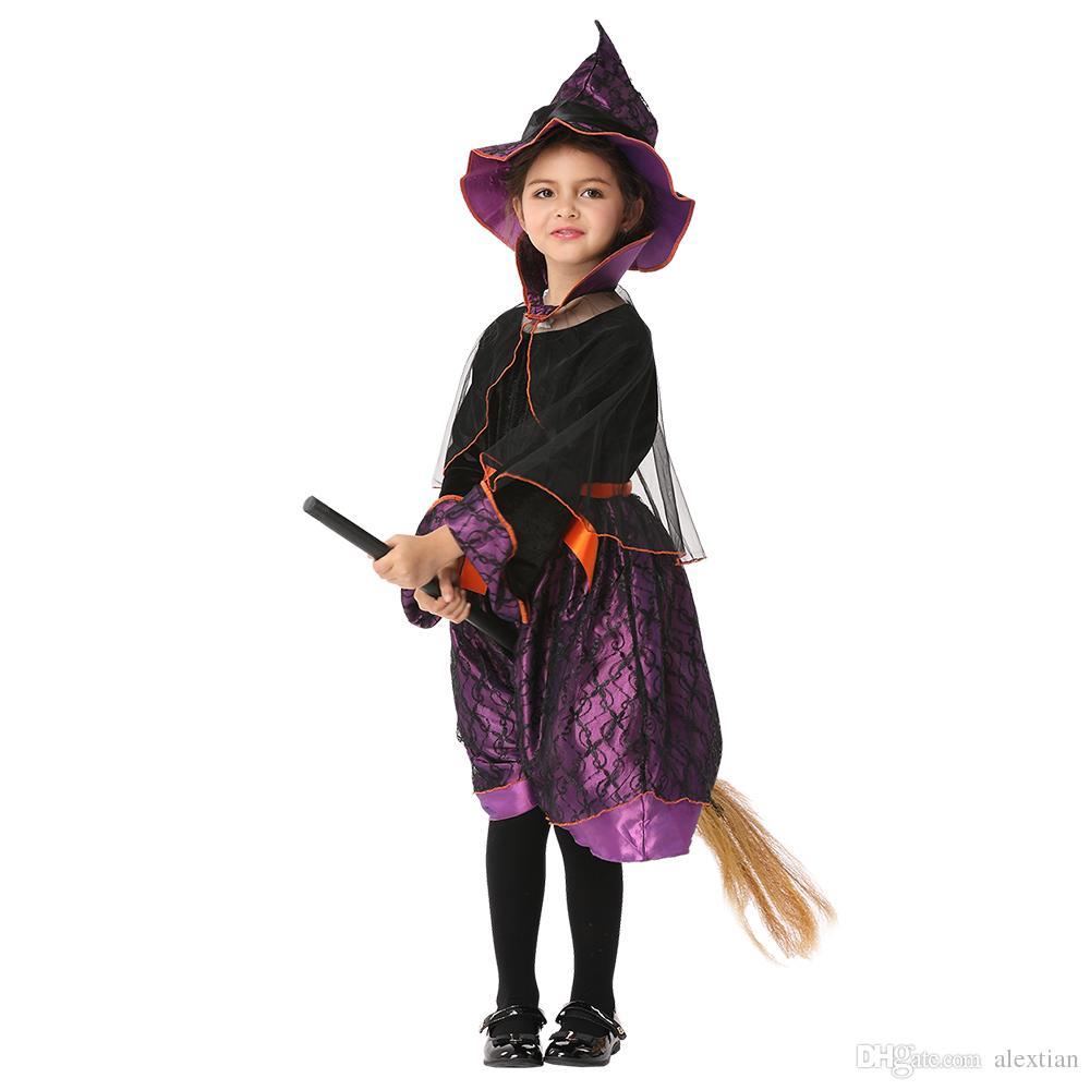 Juego de rol para niños Cosplay para niños Ropa bruja Ropa auténtica Ropa de alto rendimiento Vestidos de bruja Negro Envío EK198