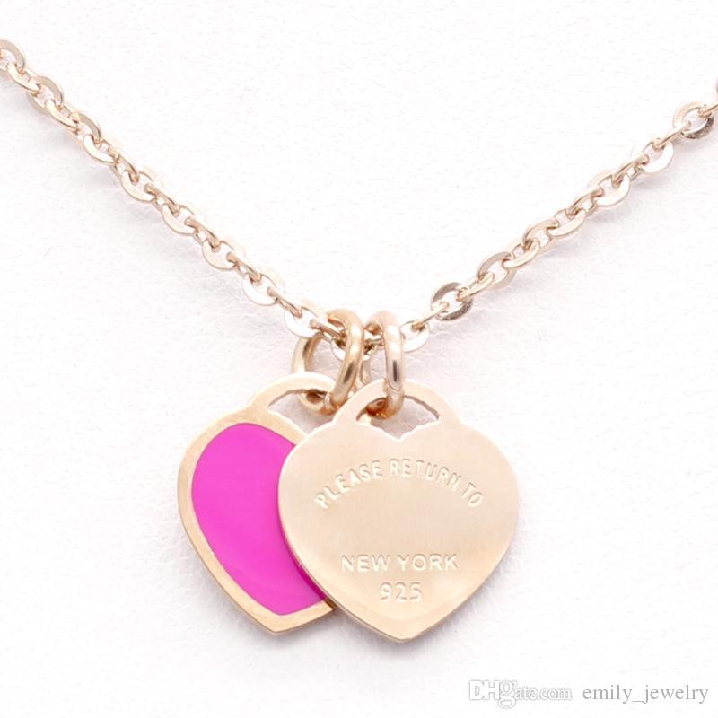 Hot Design Nouvelle marque de coeur collier d'amour pour les femmes en acier inoxydable Accessoires Zircon vert rose cadeau Collier de coeur pour les femmes de bijoux