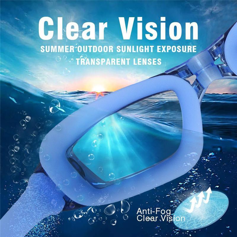 نظارات السباحة الإبداعية مع سيليكون الأذن المقابس مكافحة الضباب فوق البنفسجية حماية للكبار الرجال النساء الشباب الاطفال الطفل