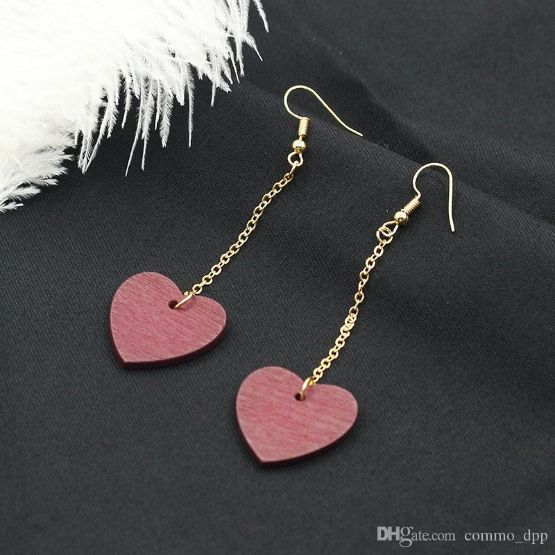 New Korean wooden Heart with lovers dangling earrings women wood Wine red Hearts clip on earrings For ladies Fashion sexy Jewelry