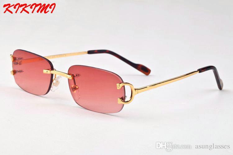 30d72d2850 Compre 2017 Gafas De Sol De Lujo Para Hombres Unisex Gafas De Cuerno De  Búfalo Para Mujer De Las Mujeres Diseñador De Marca Gafas De Sol Sin  Montura De Oro ...