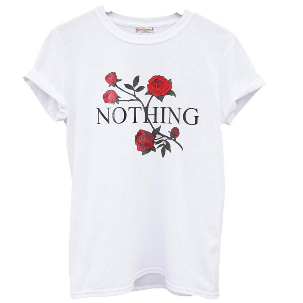 31a09bc2977 Wholesale Nothing Letter Print T Shirt Rose Harajuku T Shirt Women 2017 Summer  Casual Short Sleeve TShirt Plus Size Punk Shirts That T Shirt But T Shirts  ...