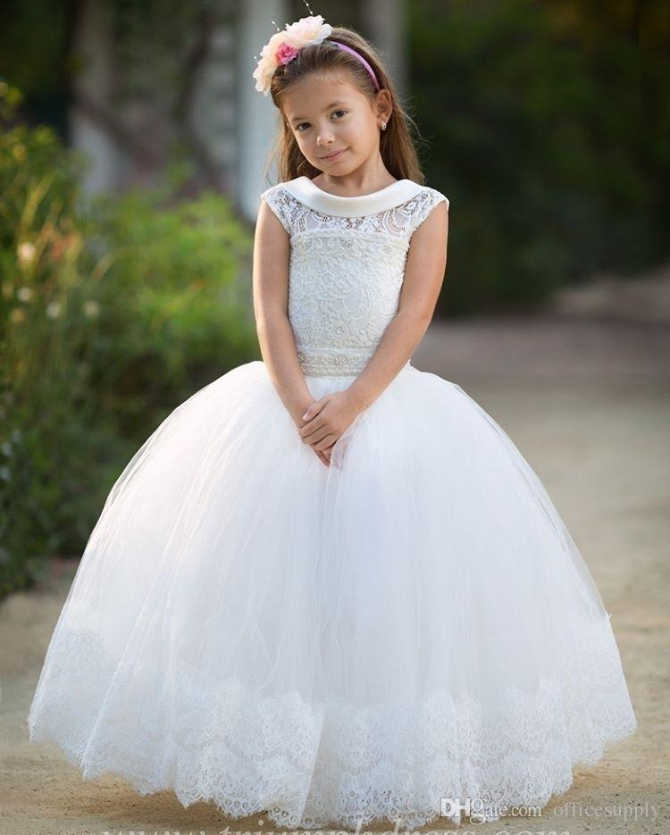 2018 Princess Ball Gown Lace Pageant Gowns for Kids Ruffles Organza Capped Sleeves Piano Lunghezza Lace-up Prima Comunione Flower Girls Dress