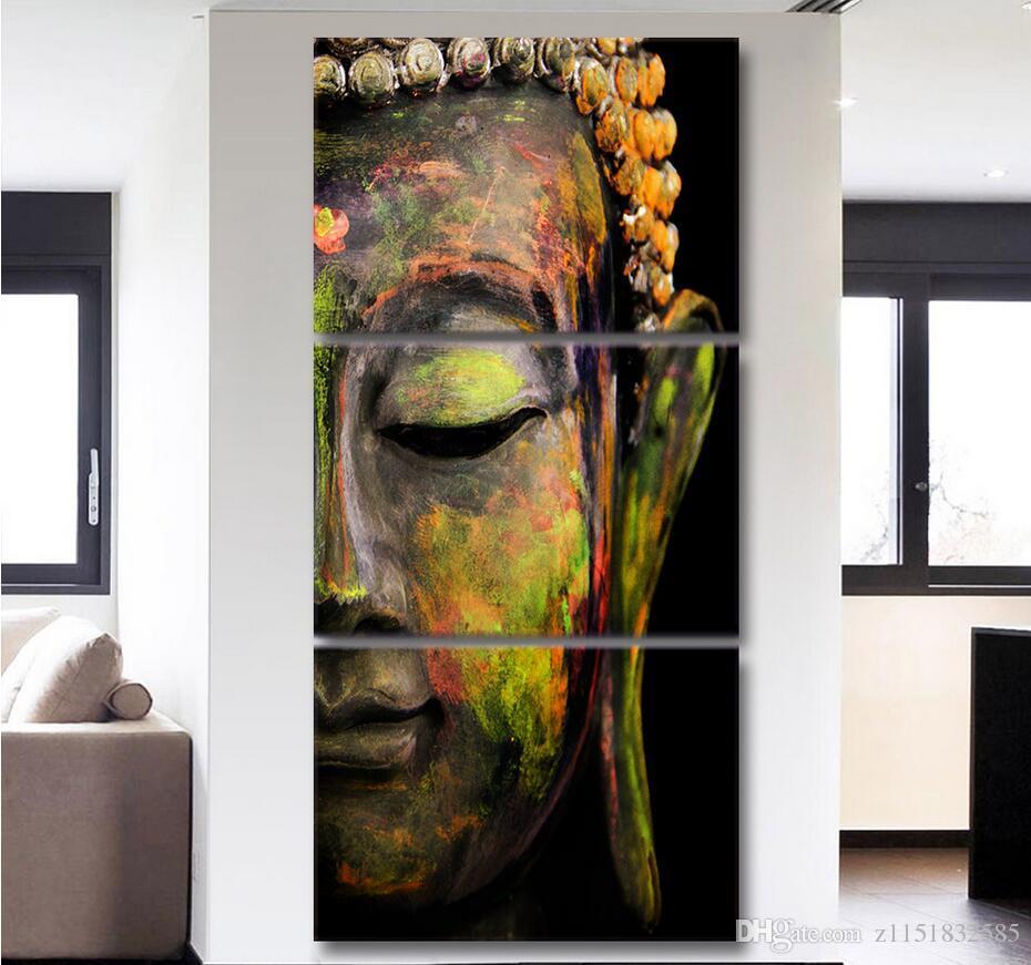 stampe pittura buddha statue arte della parete di tela 2017 HD stampato 3 pezzo d'arte della parete della tela di canapa Buddha di meditazione