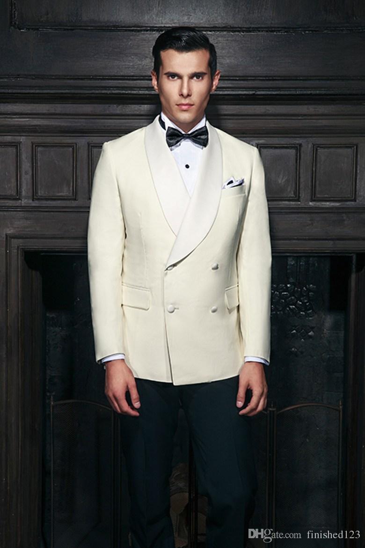Klassischer Entwurf Bräutigam Smoking Groomsmen Zweireiher Elfenbein Schal Revers Best Man Anzug Hochzeit Herren Blazer Anzüge Jacke + Pants + Tie K386