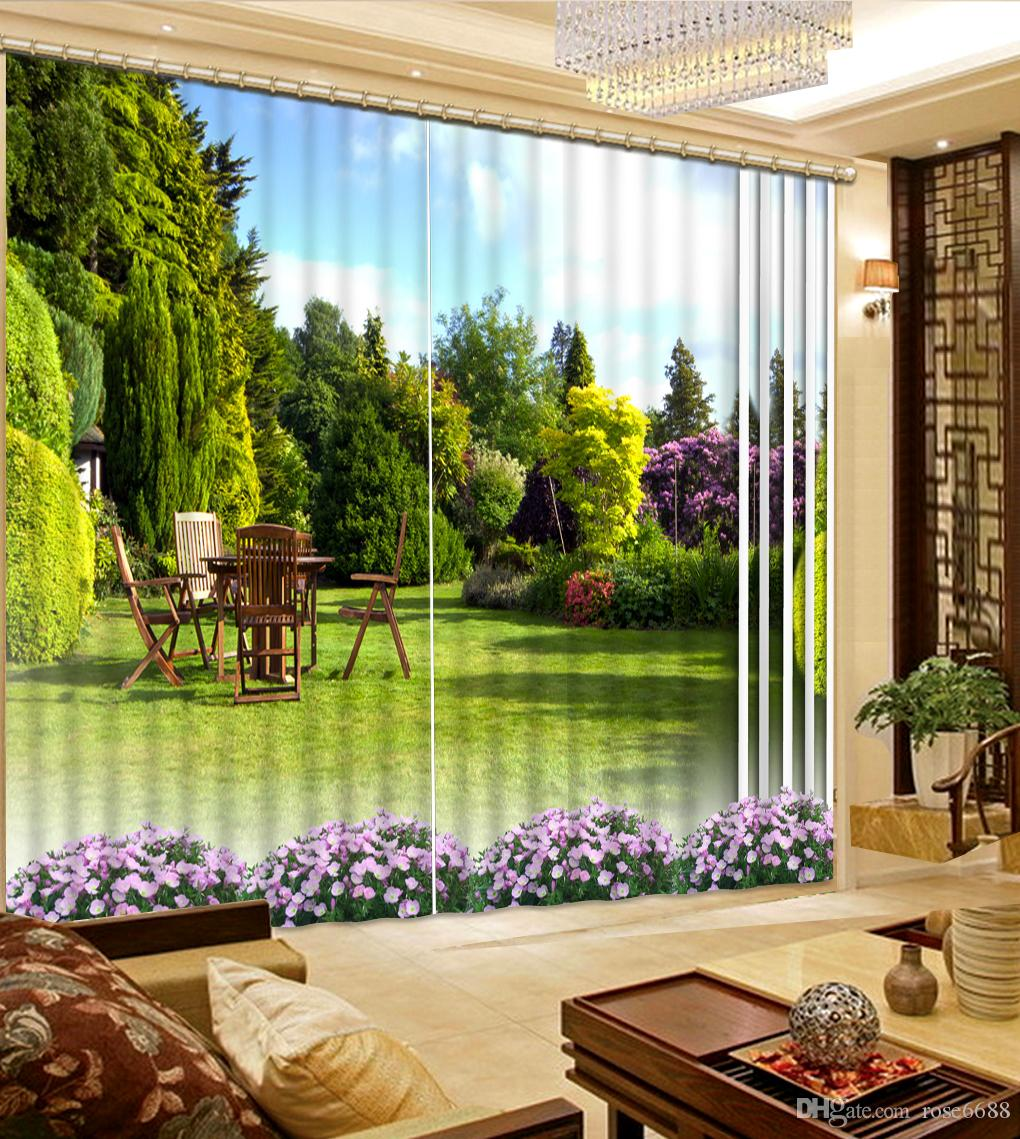 2017 High Quality Customize Size Modern Home Curtains Green Park 3d Curtain Fashion Decor Decoration For Bedroom Living Room From Rose6688
