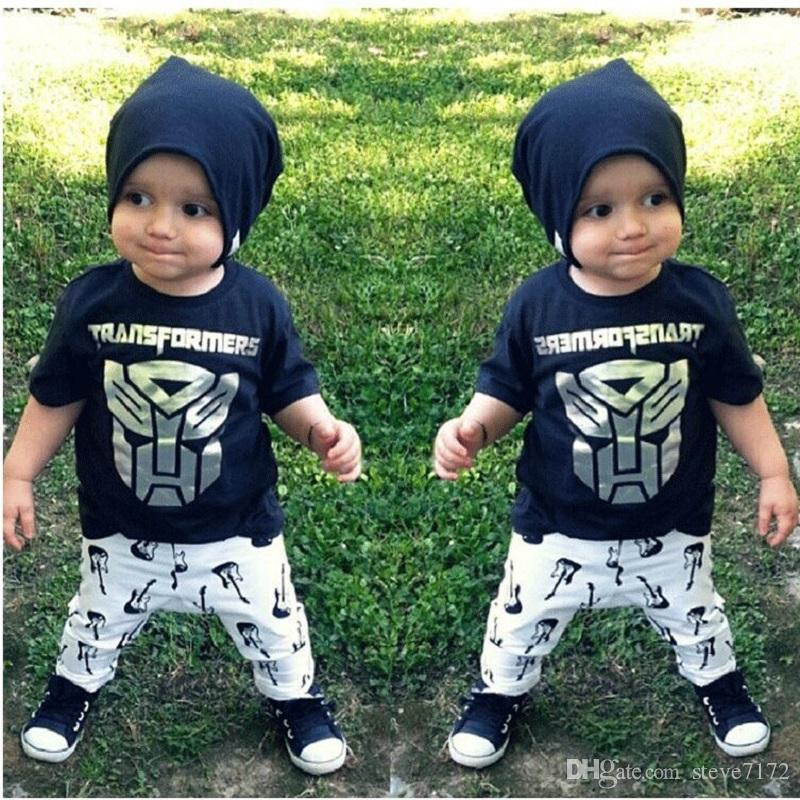 Hooyi Baby Clothes Set Summer Boys T-Shirt Pants Clothing Suit Cotton Character Toddler Sport Suits Outfits Kids Tops 0-3Y Jumpsuits