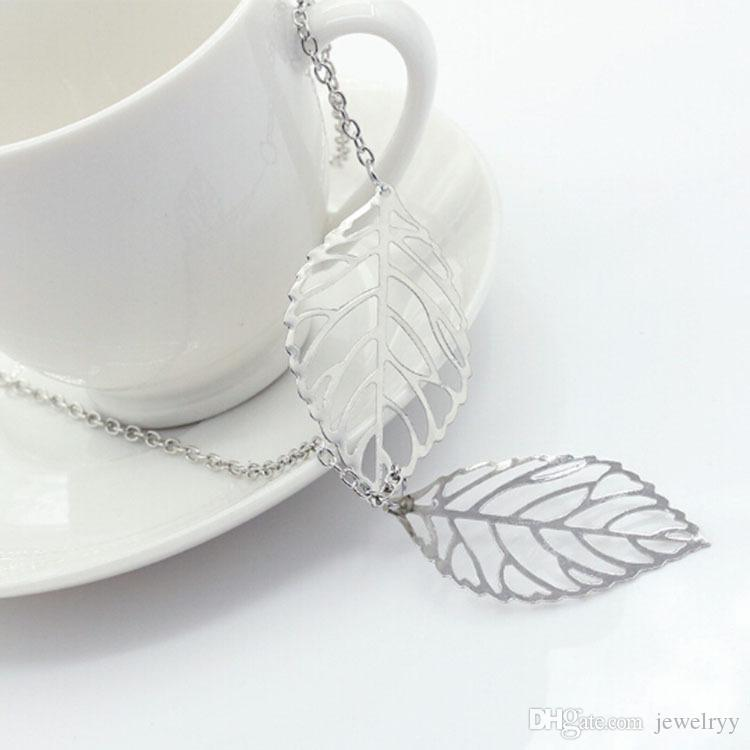 Vintage Women Silver Gold Charm Chain Necklace Hollow Leaf Clavicle Necklace Two Leaves Pendant Necklace Jewelry