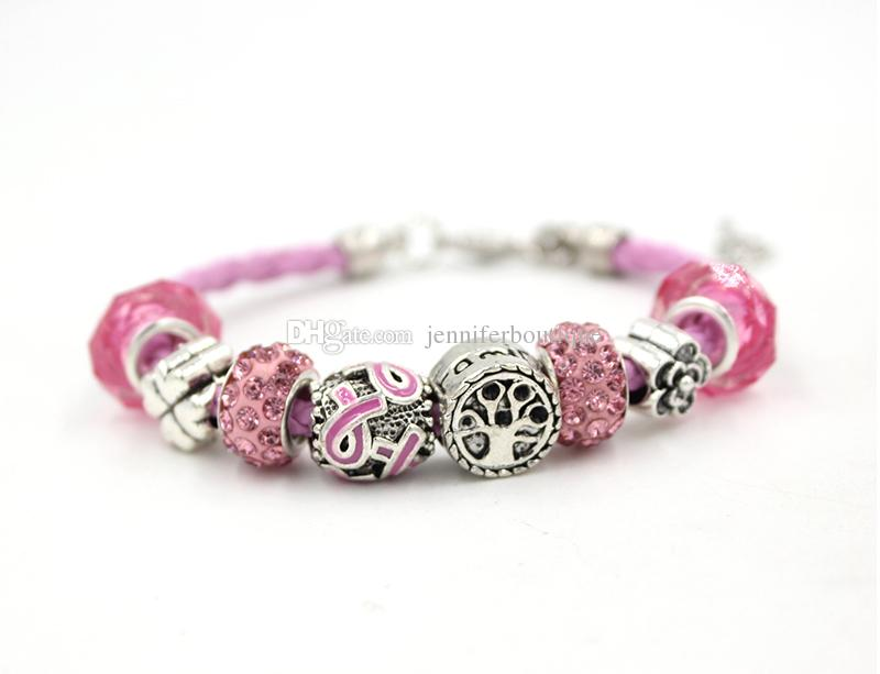 Neue Ankunft Großhandel Brustkrebs Schmuck Familie Baum Rosa Band Brustkrebs Awareness Armbänder für Cancer Center Foundation Geschenk