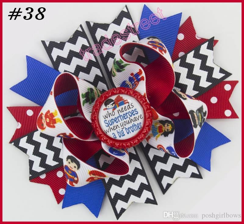 5'' 2017 newest character hair bows Patriotic Bow inspired hair clips school bows fashion girl hair accessories