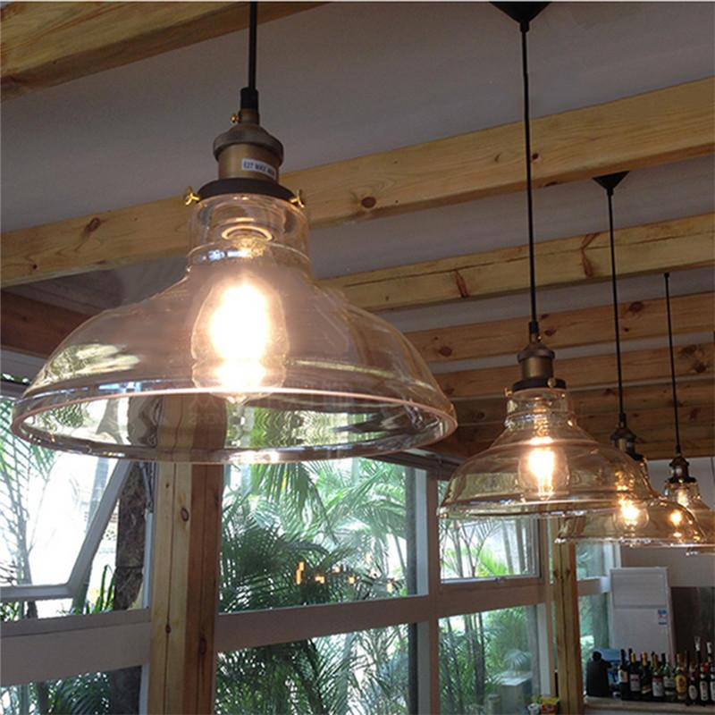 clear glass shade ceiling vintage retro pendant lamp light pendant