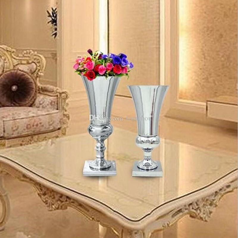 Silver Plated Metal Flower Vase Wedding Centerpiece Event Road Lead