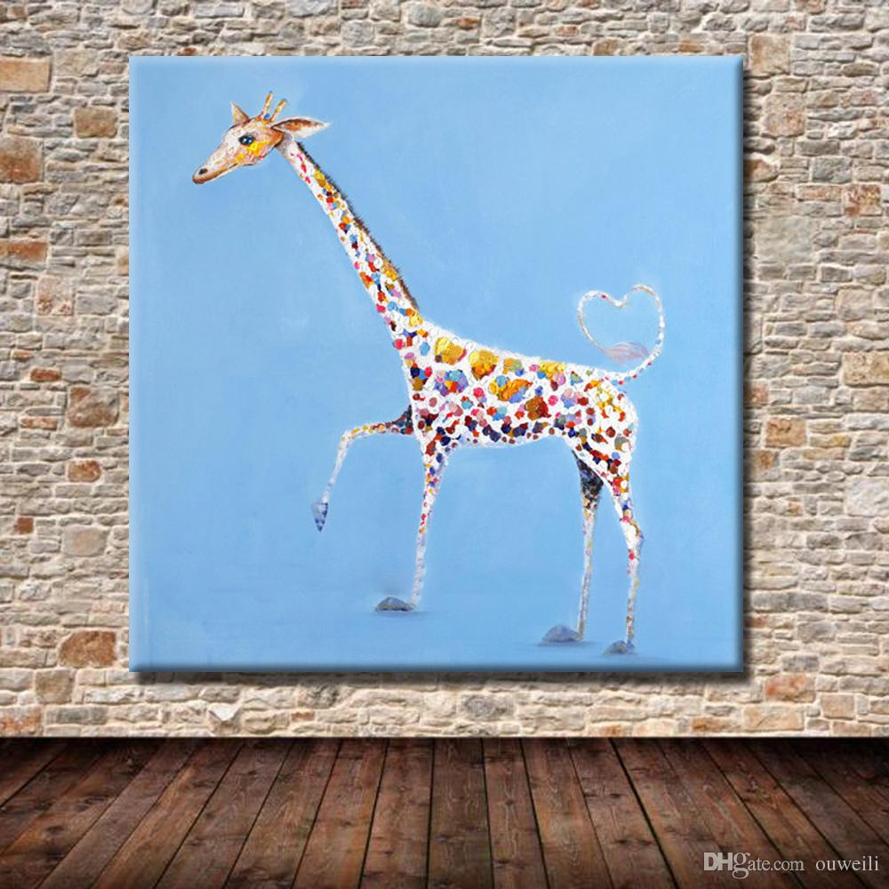 Hand painted funny giraffe oil painting top quality cartoon animal wall pictures original art for sale