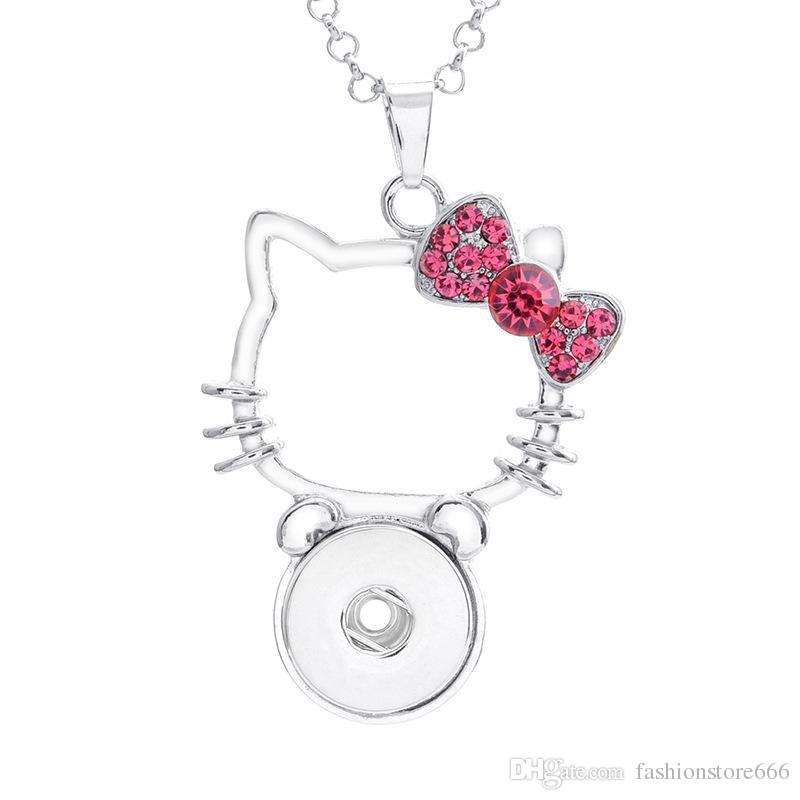 Pendant Necklace Hello Kitty Crystal Cat Charms with Link Chain Fit Interchangeable 18MM Ginger Snap Buttons Necklace