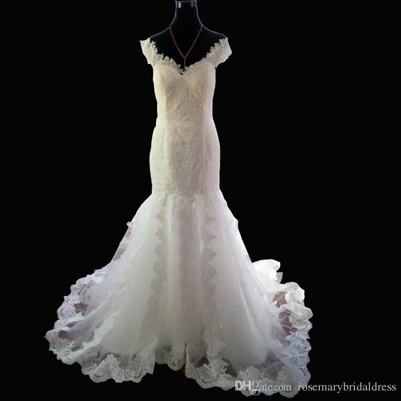 Breaktaking Wedding Dresses 2016 New Cap Sleeve Mermaid Wedding Gown ...