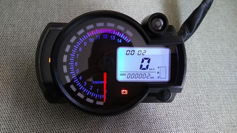 TKOSM KOSO 오토바이 디지털 LCD 게이지 속도계 타코미터 주행 거리 오토바이 인스트루먼트 7 컬러 디스플레이 오일 레벨 미터