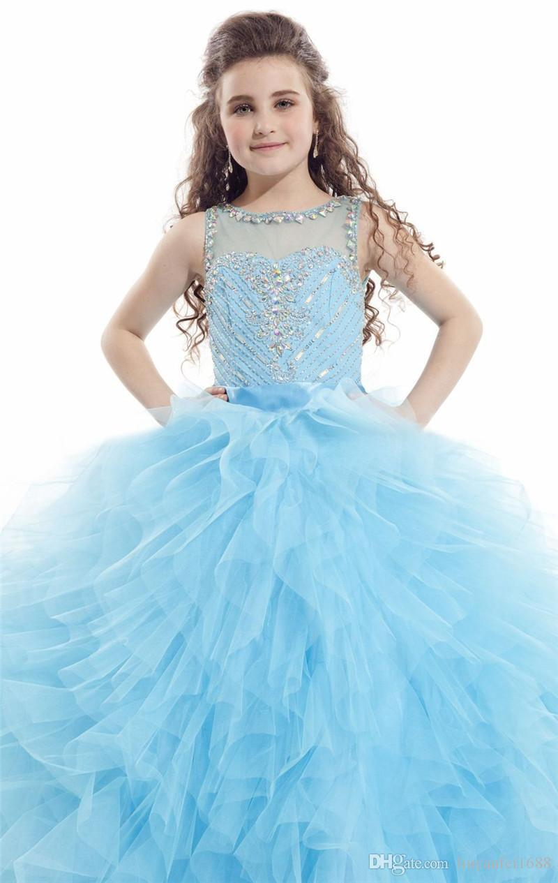 Rachel Allan Ball Gown Girls Pageant Dresses Rhinestone Sequins Flower Girls Dress Floor Length Cheap Chrisom Kids Formal Party Dress