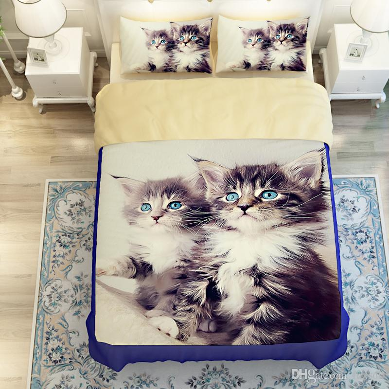 3d Animal Luxury Designer Tencel Hd 3d Cute Cat Print 3