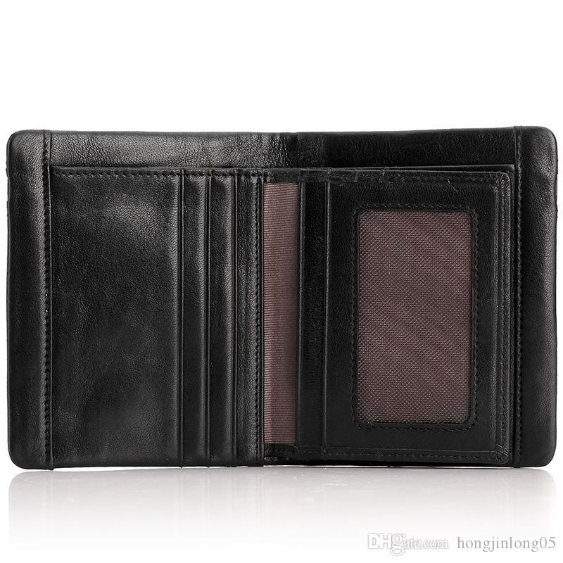 정품 가죽 표준 지갑 지퍼 브랜드 디자인 남자 지갑 단색 패션 고품질 남성 지갑 카드 홀더 M1006