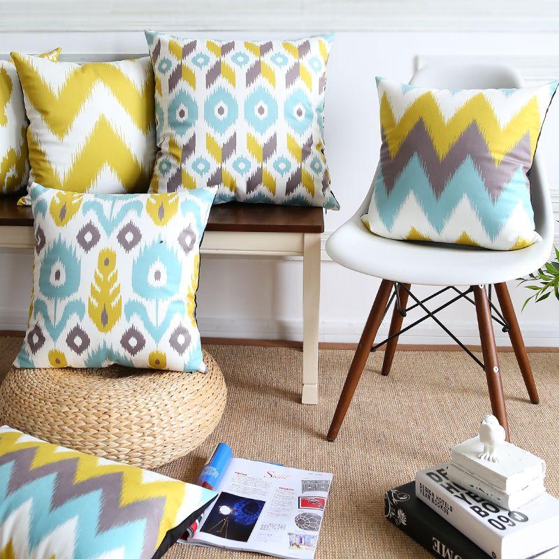 5ef6ea0d320d13 Capa de Almofada geométrica Amarelo e Azul Cor 6 Estilos Nordic Abstrato  Macio Fronhas Capas de Listra Flor Travesseiro Cas ...