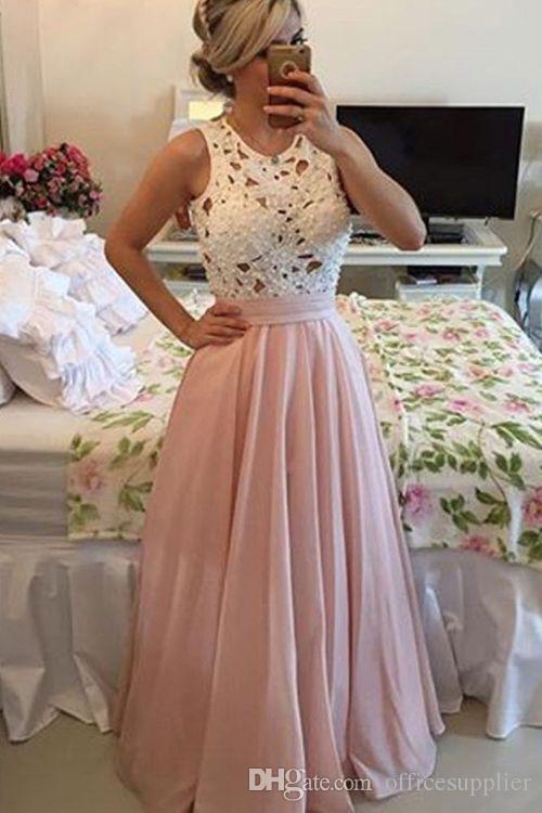 Çiçek Dantel Patchwork elbise Sevimli Yüksek Kalite Kadınlar Uzun Kollu Beyaz Çiçek Dantel Patchwork Kat Uzunluk Şifon Elbise Akşam Parti elbise