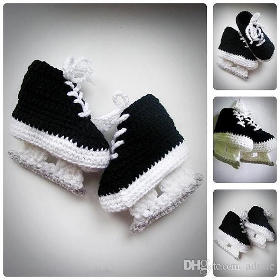 2017 MAX Baby Hockey Skates black Crochet Booties, Newborn Crochet Shoes, Infant Booties, Baby Shoes, Boots for babies, Baby shower gift