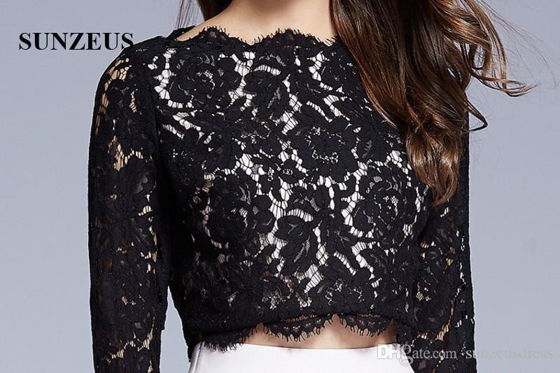 Long Sleeve Black Lace Top Long Red Taffeta Party Dresses 2017 Fall Design New Prom Gowns