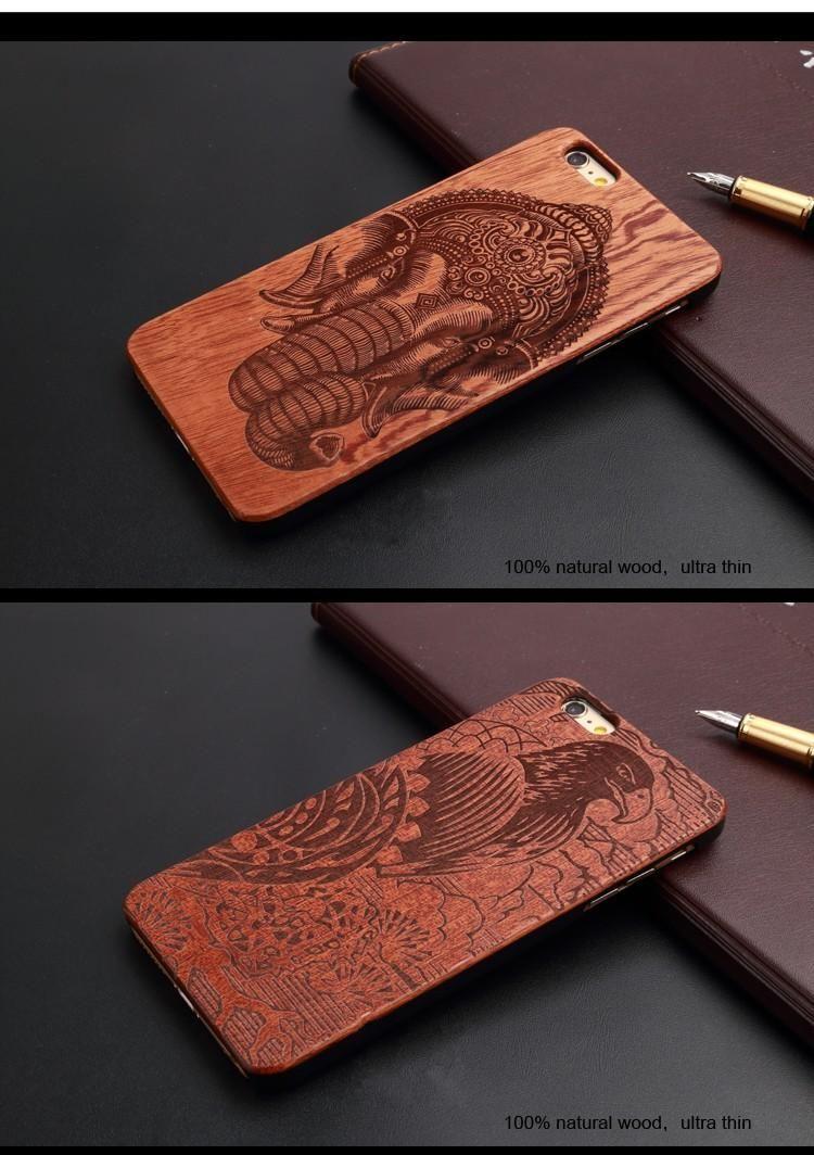 Retro Natural Noz Do Vintage Carving Caso Cubra De Madeira para o iphone 7 6 6 S Plus 5 S PC Madeira de Bambu de Madeira Móvel casos de telefone
