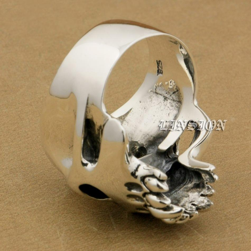 LINSION Huge Heavy 925 Sterling Silver Red CZ Eyes Skull Mens Biker Rocker Punk Ring 9M504 US Size 7~15