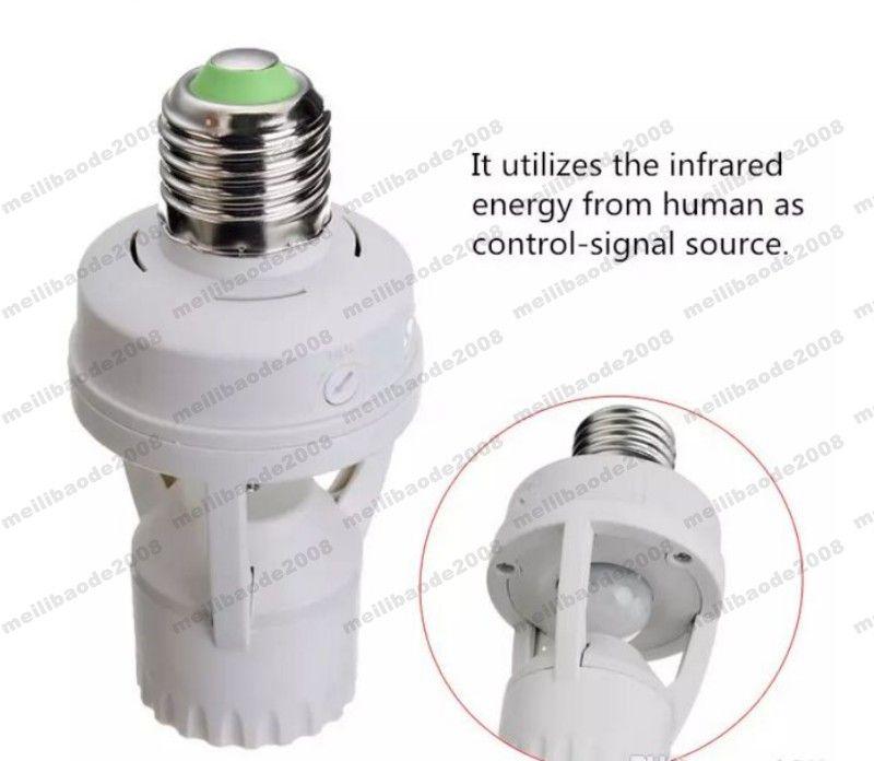 AC 110-220 V 360 Gradi PIR Sensore di Movimento A Infrarossi IR a raggi infrarossi E27 Presa di Spina Interruttore Base Led Lampadina Portalampada MYY