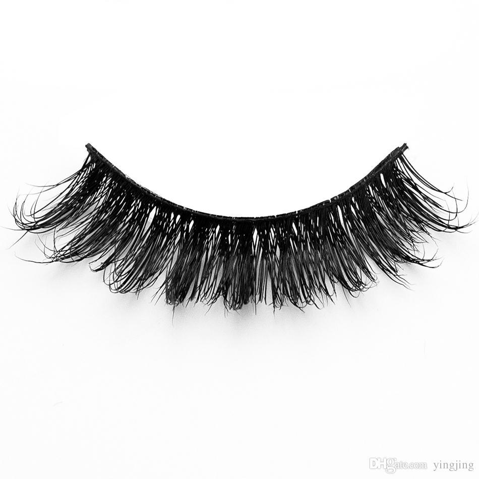 1 Señora madura Ladies maquillaje pestañas postizas 3D Mink pestañas largo negro Nautral hecho a mano herramientas de belleza de maquillaje