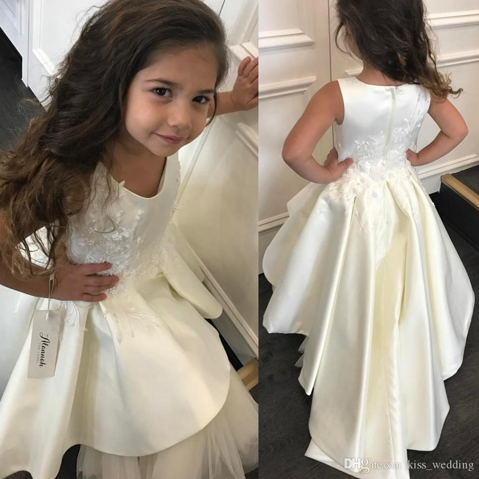 344661d5d53 Romantic Ivory Satin Kids Wedding Dresses With Embroidery Appliques Long Flower  Girl Dress For Weddings High Quality Toddler Gown Girls Communion Shoes ...