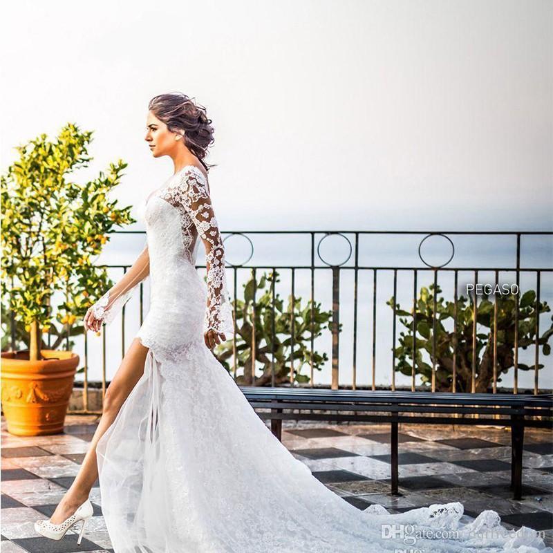 Белое кружево длинное русалка свадебное платье Vintage Jewel с длинным рукавом развертки поезд V-образным вырезом свадебные платья 2019 Boho
