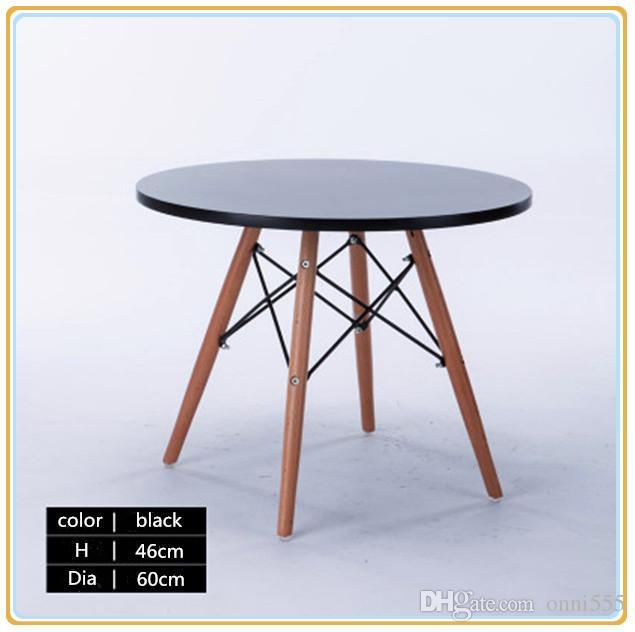 2018 Modern Simple Dining Table Café Table Garden Table Beech Wooden Leg  Black Table Board H 46cm X Dia60cm K5k5 Carton Packing 2017 New Arrival  From ...