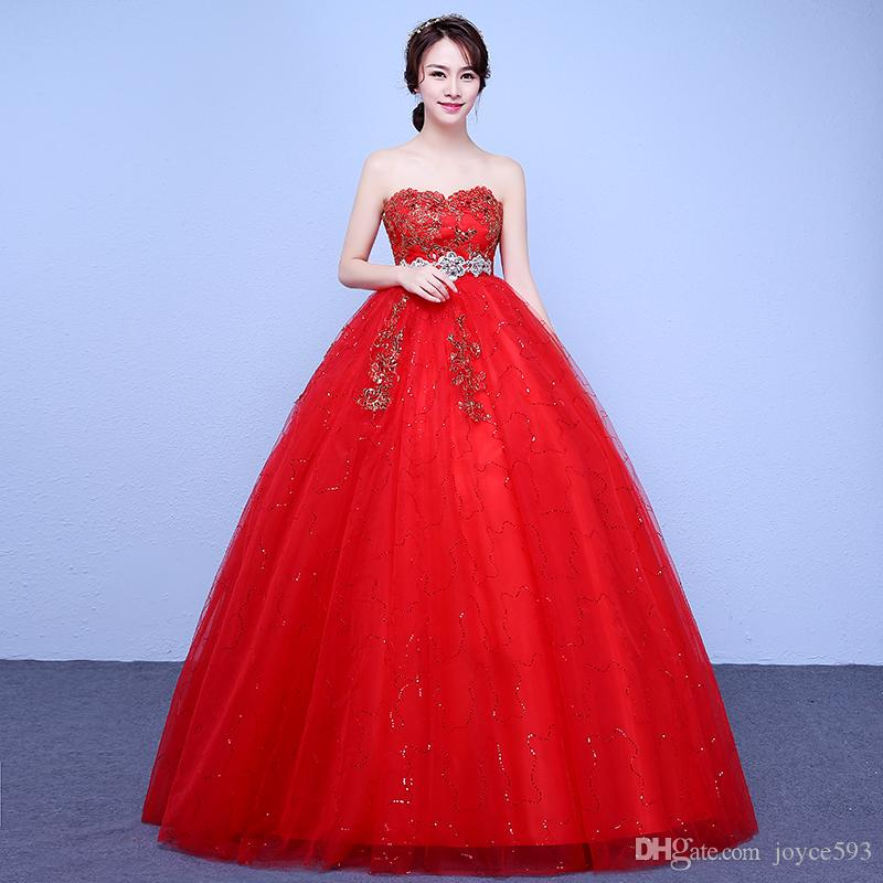 Vestido De Noiva New Red Maternity Wedding Dresses High Waist Ball ...