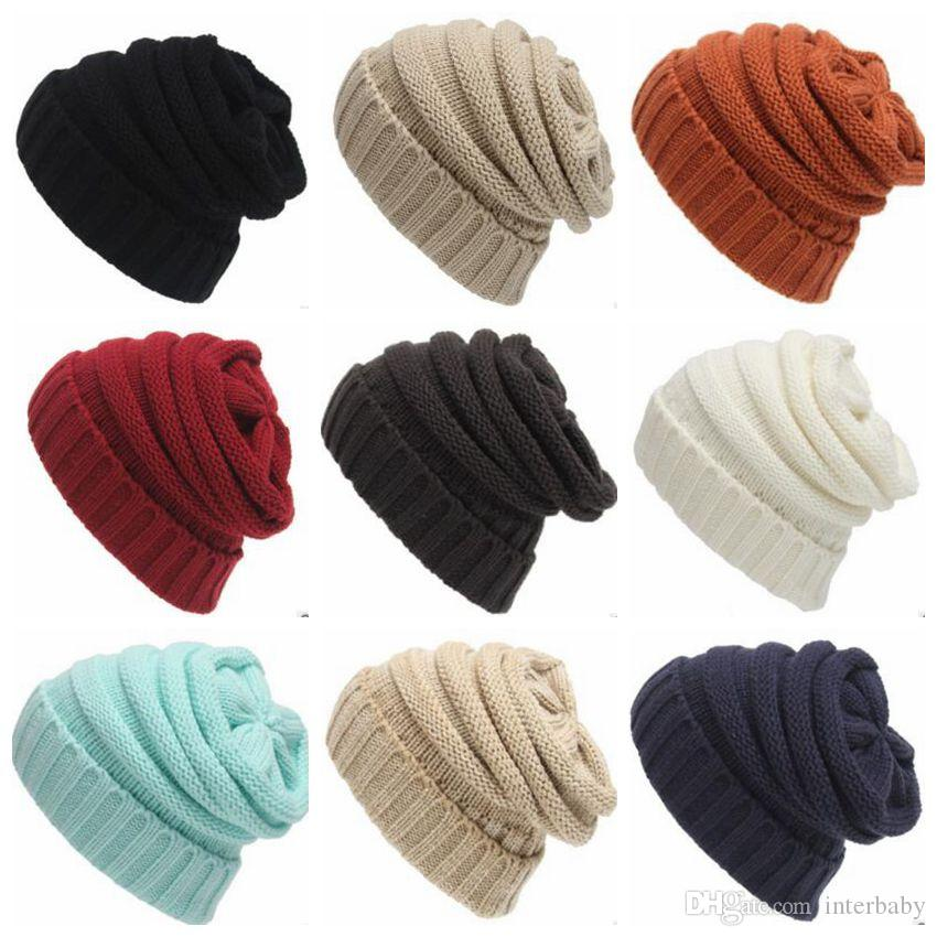 Compre Crochet Trendy Hats Mujeres De Punto Skull Caps Gorro De Lana ...