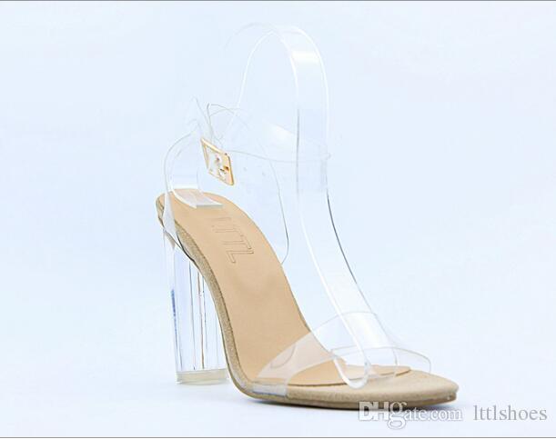 LTTL Summer Kim Kardashian PVC Clear Transparent High Heel  Sandalo   Heel cbebab
