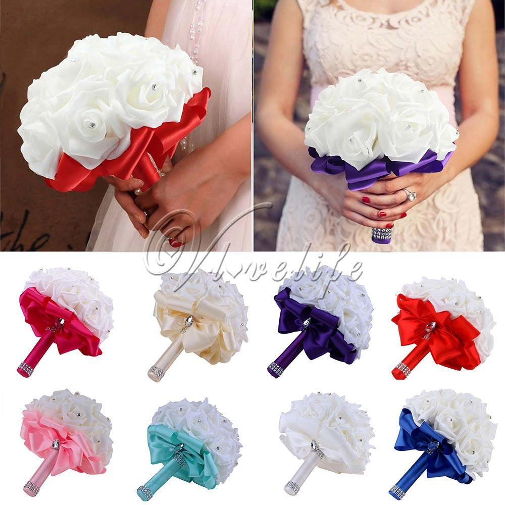 2018 romantic hand made bridal bridesmaid bouquet flower artificial 2018 romantic hand made bridal bridesmaid bouquet flower artificial rose flowers with colorful ribbon beaded rhinestone from kepiwell5 7808 dhgate izmirmasajfo