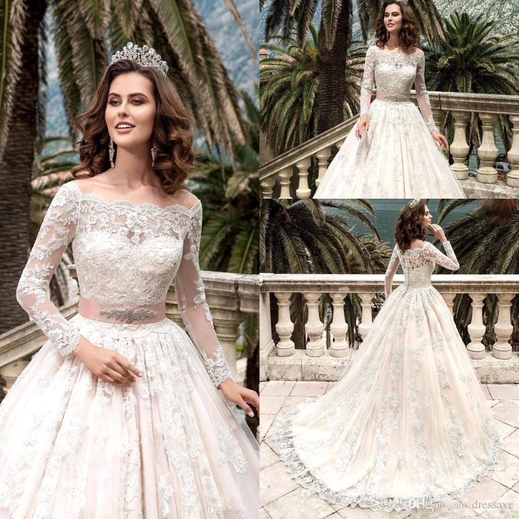 11e9145bb28 Discount 2017 Full Lace Modest Wedding Dresses Bridal Gowns Off Shoulder  With Illusion Long Sleeves Sweep Train Applique Plus Size Wedding Dress  Cheap Lace ...