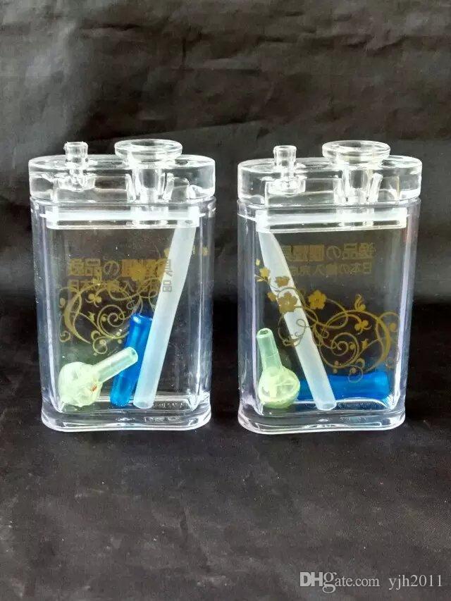 Cachimbo de água acrílico estilo cigarro + conjunto completo de acessórios, novo exclusivo queimador de óleo Tubos de vidro Tubos de água Tubulação de vidro Plataformas de petróleo fumar com gota