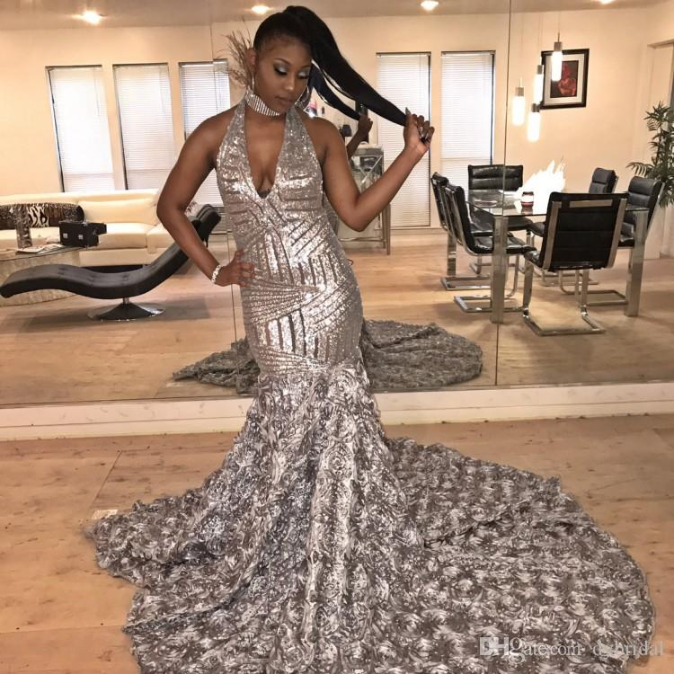 2018 sexy cheap plus size black girl prom dresses mermaid formal evening gowns dresses african sequined prom dress
