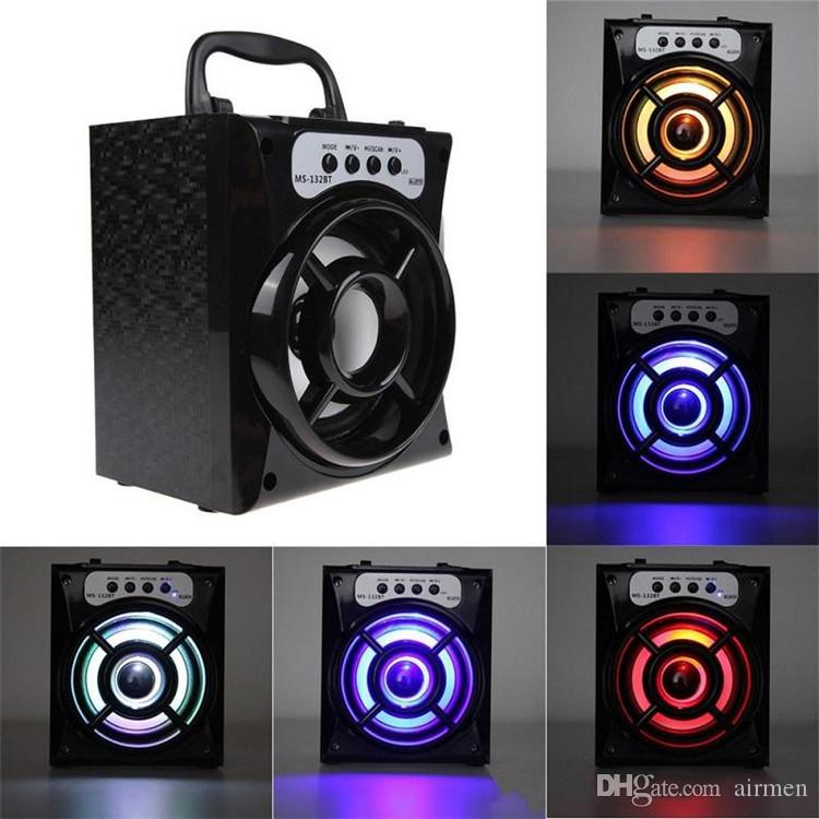 MS-132BT 미니 휴대용 무선 블루투스 스퀘어 스피커 지원 FM 라디오 LED Shinning TF / 마이크로 SD 카드 음악 재생 DHL FEDEX