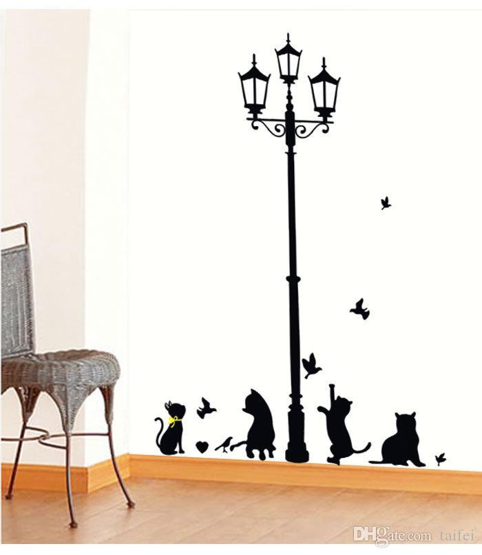 2019 Promotion Decal Removable Pvc Cartoon Estrella Black for Kittens Wall Stickers Wallpapers Home Decor Art Cute Ppaer