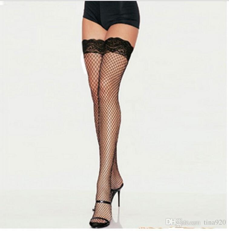 Toptan Satış - Toptan-Yeni Kadınlar Yeni Uyluk Yüksek Stocking Seksi Kadınlar Şeffaf Mesh Dantel İpek Stocking Katı Beyaz / Kırmızı / Mor / Siyah / Pembe Stay Up Kulübü